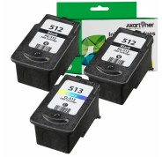 Compatible Pack 3 x Tinta CANON PG512 / PG510 Negro (2 ud.) + CANON CL513 / CL511 TRICOLOR (1 ud.)