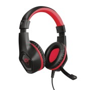 Trust Gaming GXT 404R Rana Auriculares con Microfono - Compatible con Nintendo Switch - Microfono Plegable - Diadema Ajustable - Altavoces de 40mm - Cable de 1m - Color Negro/Rojo